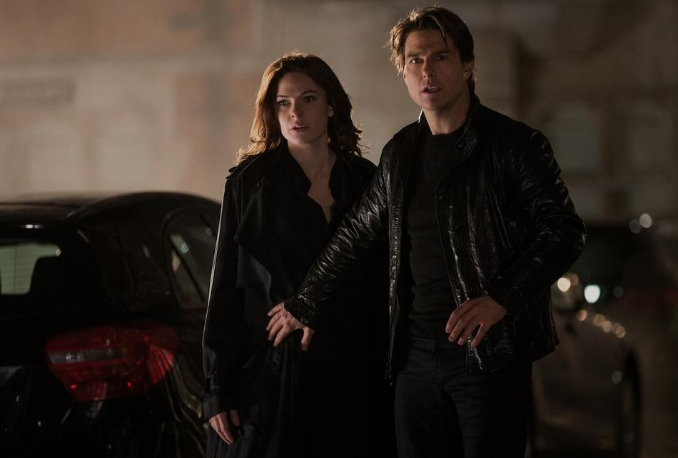 Left to right: Rebecca Ferguson plays Ilsa and Tom Cruise plays Ethan Hunt in Mission: Impossible - Rogue Nation from Paramount Pictures and Skydance Productions.