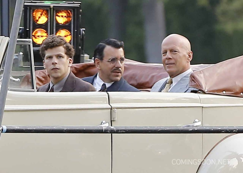 Exclusive... 51830160 Actors Jesse Eisenberg and Bruce Willis are spotted filming scenes in a classic car for an Untitled Woody Allen Project in Beverly Hills, California on August 21, 2015. This is the first time Allen has filmed a movie in Los Angeles since 1977's 'Annie Hall.' FameFlynet, Inc - Beverly Hills, CA, USA - +1 (818) 307-4813