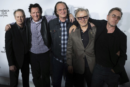 "Steve Buscemi, from left, Michael Madsen, Quentin Tarantino, Harvey Keitel and Tim Roth attend the ""Reservoir Dogs"" 25th anniversary screening during the 2017 Tribeca Film Festival on Friday, April 28, 2017, in New York. (Photo by Charles Sykes/Invision/AP)"