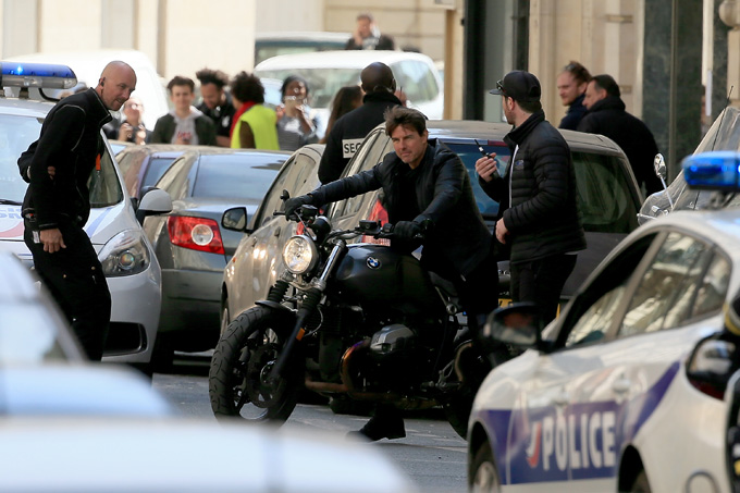 PARIS, FRANCE - APRIL 11:  Actor Tom Cruise is pictured filming on a Motorbike on set for 'Mission:Impossible 6 Gemini' filming  on April 11, 2017 in Paris, France.  (Photo by Pierre Suu/GC Images)