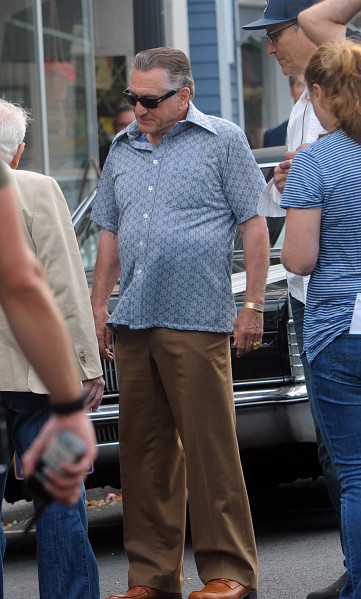 Mandatory Credit: Photo by William Jewell/ACE Pictures/REX/Shutterstock (9069960h) Robert De Niro 'The Irishman' on set filming, New York, USA - 21 Sep 2017